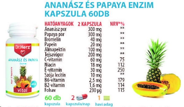 Dr. Herz Ananász Papaya kapszula 60 db *